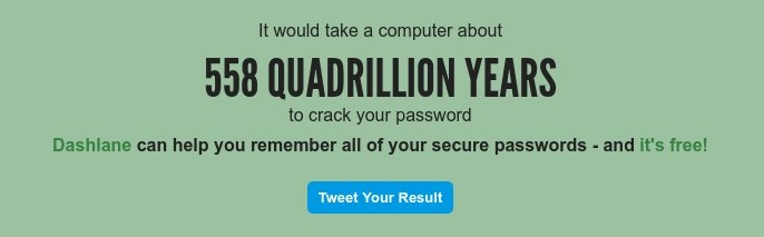 Resultado de howsecureismypassword.net